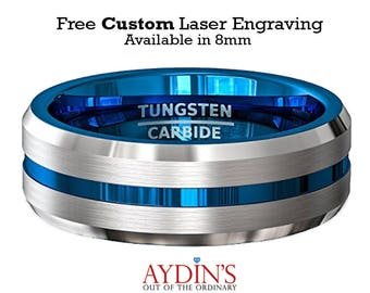 Tungsten Wedding Band Ring 8mm for Men or Women Comfort Fit Center Blue Groove Tungsten Carbide Wedding Ring