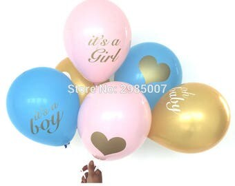 12pcs/lot baby shower balloons its a boy it's a girl oh baby printed ballons babyshower decorations party supply