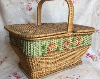 "Large Old Vintage French WICKER BASKET Hd Painted ROSE Garland Mid Century 16""x11""x13H Petite girl's or Doll's Picnic basket Collection"