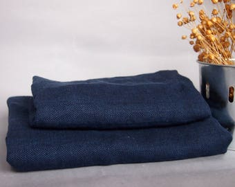 Set of 2 Linen Blue Bath Towels, Dark Blue Linen Towels, Linen Gift