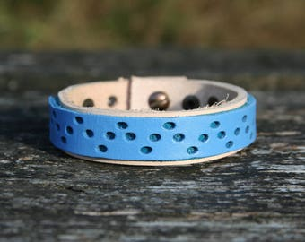 Handmade genuine leather bracelet / Handmade Leather bracelet, blue