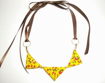 Petite ORIGAMI TRIANGLE NECKLACE - Yellow and Red Flower Print Ribbon Tie Necklace