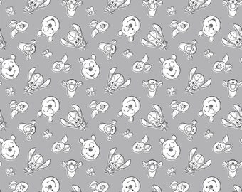 DISNEY Baby Winnie the Pooh Always By Your Side with friends Tigger, Piglet, Eeyore on Gray 100% cotton Fabric By The Yard (65152)