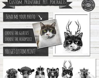CUSTOM Digital Pet Portraits, Pet Portraits,Pets, Custom, Digital Download, Cutom Print, Custom Printable,Hipster Pet Portrait,Pet Printable