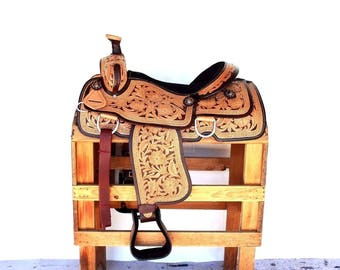 Handmade Western Horse Pleasure Trail 2 Tone  Floral Tooled leather Saddle