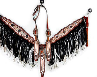 One Ear Handcrafted Silver & Gold Gator Headstall Fringe Leather Western Horse Trail Bridle Breast Collar Plate Barrel Racer Bling Tack Set