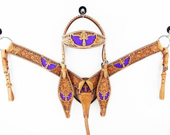 Cross & Wings Western Horse Natural Leather Purple Trail Bridle Headstall Breast Collar Tack Set