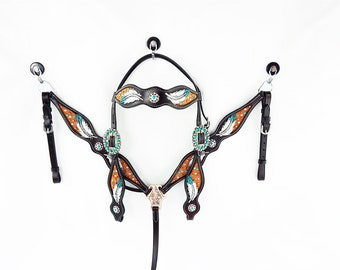 Handmade Feather Tooled Hand Painted Barrel Racer Leather Headstall Western Horse Trail Bridle Breast Collar Made To Order