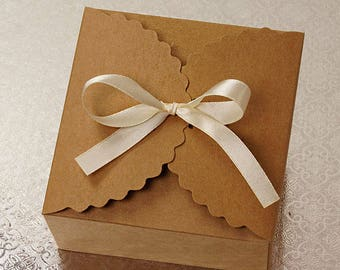 FLOWER EDGE FAVOR, 10  Candy Boxes Kraft Gift Box, Favor Box, Gift Box, Gift wrap, Rustic Wedding small 3 x 3 x 2