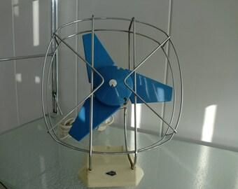Ventilator fan ITHO Blue/ white  electric ventilator fan - bureau ventilator - desk ventilator - also wall mout -  vintage - midcentury
