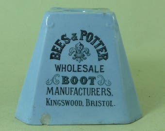 Bristol Bees & Potter Pottery Inkstand Boot Shoe Advertising Kingswood Antique