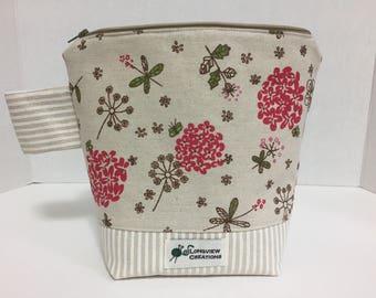 Wedge Bag, Knitting Project Bag, Zipper Bag, Sock Size, Linen Bag, Flowers