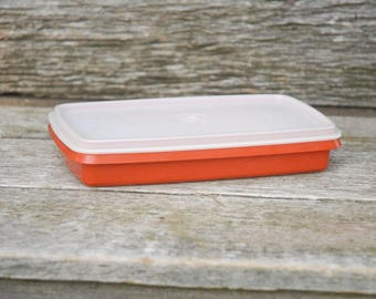 Paprika Tupperware Meat Keeper, Tupperware deli box, Orange Tupperware,Rectangular Shallow tupperware, bacon Saver,816-14,817-13