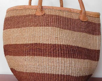 Brown sisal bag with leather handles/ Handmade woven bag/ Kiondo bag/ African ethnic bag/ Market bag/ African Shopping bag /  Tote bag.