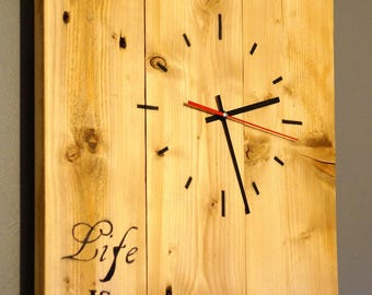 Large recycled pallet wood clock