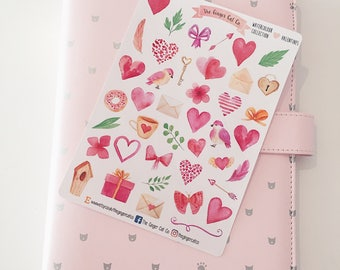 Watercolour Collection - Valentines Planner Stickers