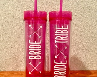 Bride Tribe Skinny Tumbler Cups Bachelorette Bridal Party Wedding Weekend