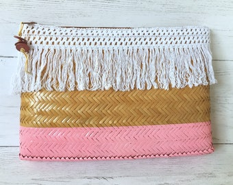 Color Block Purse, Woven Straw Bag, Straw Summer Bag, Pink Stripe Straw, Color Block Summer, Straw Summer Beach, Pink Stripe Purse, Tropical