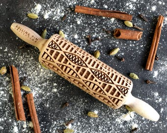 Geometric Abstract- rolling pin, small