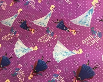 Disney's Frozen - Sister's Forever Elsa and Anna All Over on Purple Cotton Quilting Fabric