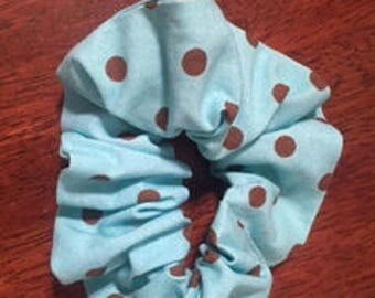 Teal and brown polka dot scrunchie