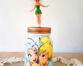 Tinkerbell Kilner Jar.Girls room. Christmas gift./Make up brush pot/Birthday/Baby Shower Gift/Girls room/