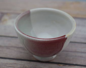 Handmade Ceramic Tea Bowl, Sake Cup, Matcha Chawan, Porcelain, 2 oz