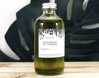 Oil Cleanser: DELICATE AF - cleanser for acne, face wash oil cleanser, gentle oil cleanser  acne prone skin, organic skincare Canada