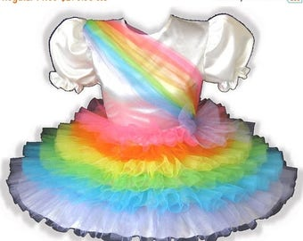 50% OFF SALE Rainy CUSTOM Fit Satin Rainbow Ruffles Adult Little Girl Sissy Dress Leanne