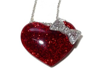 Beautiful Valentine Heart Resin Glitter Necklace by Del Sol