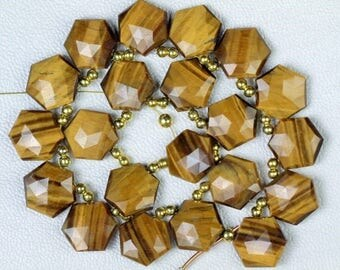 20 piece faceted hexagon YELLOW TIGER briolette beads 13 x 15 mm approx