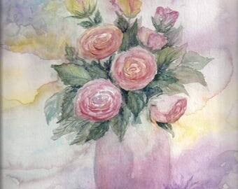 Rose bouquet - original watercolor painting