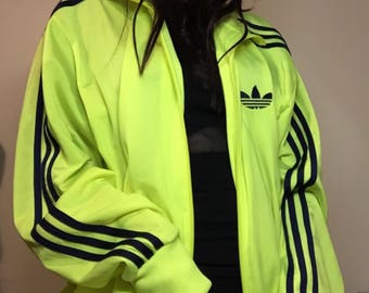 fluro yellow Adidas Track jacket