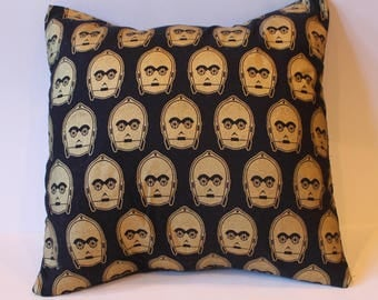 Gold C3PO 14 x 14 Throw Pillow