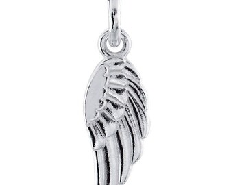 14k Angel Wing Charm Necklace, 14k Rose White or Yellow Gold, Little Angel Wing