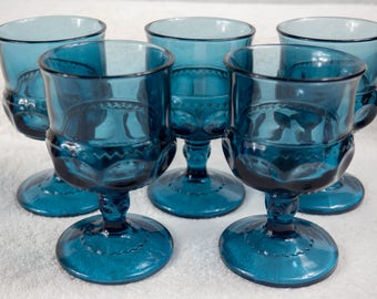 Five Indiana tiara glass imperial cobalt blue kings crown thumbprint goblets
