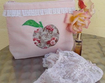 Special holiday 695 Kit woman gingham pink/white application of a large Apple liberty