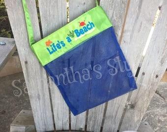 Sea Shell Beach Bag, Shell Collecting Bag, Personalized Beach bag, Custom Kids Beach Bag, Mesh Shell bag, Kids Tote, Beach Birthday Gift