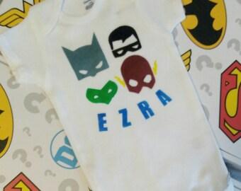 Personalized Superhero Baby Boy Airbrushed Onesie
