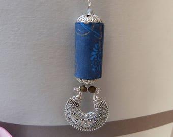 Blue Flower paper Bead Necklace
