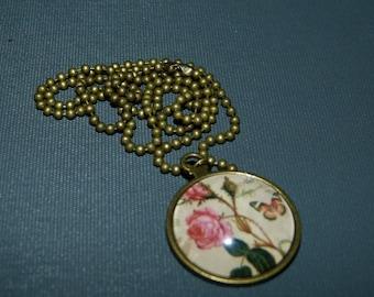 Pendant cabochon clock & Roses vintage