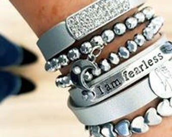 Sivertoned set bracelet, pendant bracelet,inspirational jewelry, angel bracelet, heart bracelet, silver toned stone hemtite beads