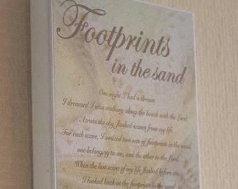 Wooden Plaque Footprints In The Sand One Night I Had A Dream Starfish Design Sentimental Gift SG1125