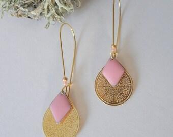 Golden earrings, long hooks, Golden sequins drops and candy pink diamonds