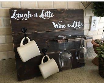 Laugh a Latte Wine a Little, Coffee Wine Rack, Rustic Kitchen Decor