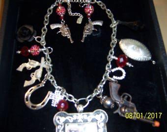 Handcrafted Lone Ranger/Tonto Western Necklace w/pistol earrings