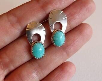 Amazonite/ Silver/ Boho/Art Deco style Earrings