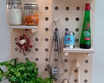 PegBoard Shelves: Kitchen, Hallway, Living Room Bathroom Shelves, Hooks, Pegs