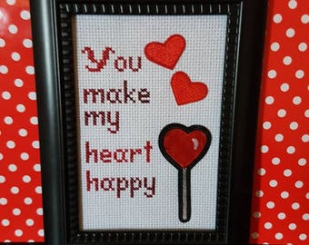 You Make My Heart Happy framed cross stitch