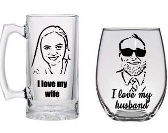 I love my wife, I love my husband, custom beer and wine glass set, Couples set, wedding shower gift, Wedding gift, anniversary gift,